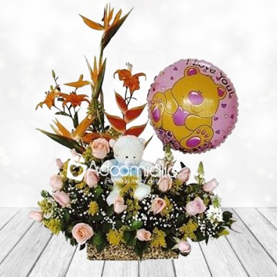 Arreglos Florales A Domicilio En Bogota Arreglo Floral Exótico Con Rosas Globo Y Peluche Marsella